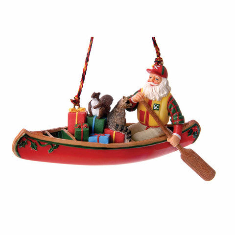 Canoe Santa Christmas Ornament