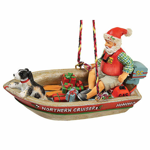 Retro Boating Santa Christmas Ornament