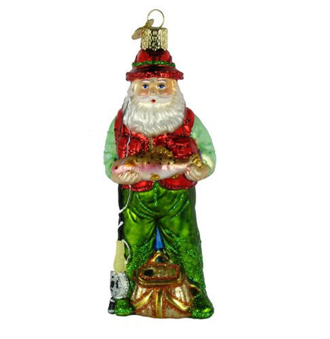 Fly Fishing Santa Christmas Ornament