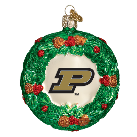 Purdue Wreath Christmas Ornament