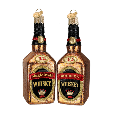 Whiskey Bottles Christmas Ornament (Set of 2)