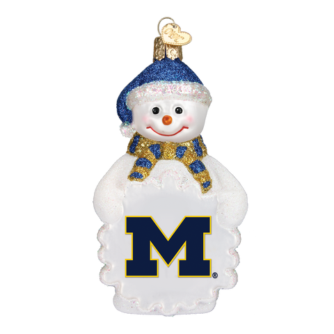 Michigan Snowman Christmas Ornament