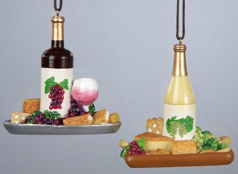 cheese and wine christmas ornament set of 2