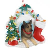 German Shepard in House Christmas Ornament