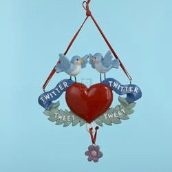 Bird Twitter Tweet Heart Christmas Ornament