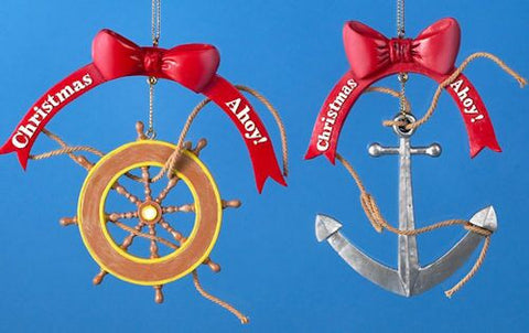 Anchor and Wheel Christmas Ornament (Set of 2)