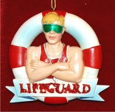 Male Lifeguard Christmas Ornament
