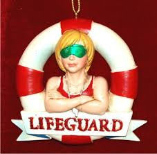 Female Lifeguard Christmas Ornament