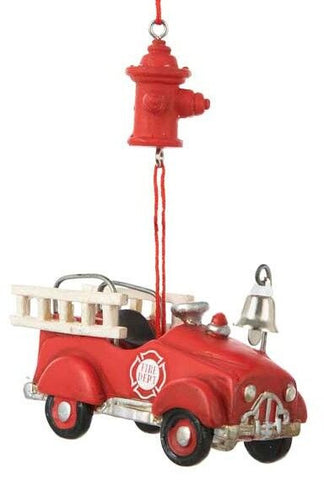 Fire Truck and Hydrant Chistmas Ornament