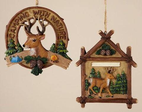 Camping Deer Sign Christmas Ornament (Set of 2)