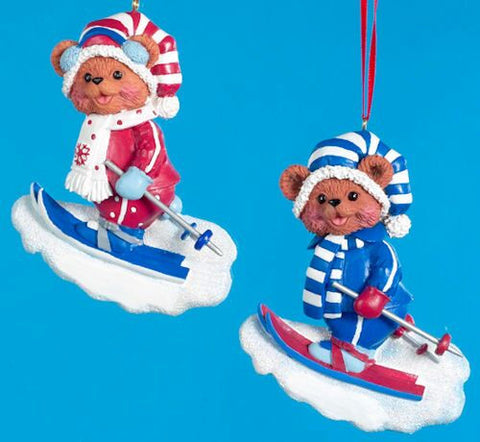 Skiing Bears Christmas Ornament