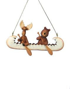Bear and Moose in a Canoe Christmas Ornament