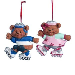 Boy and Girl Bear Rollerblading Christmas Ornament