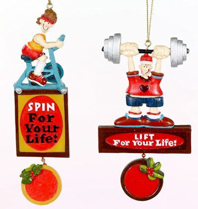 Exercise Christmas Ornament (Set of 2)