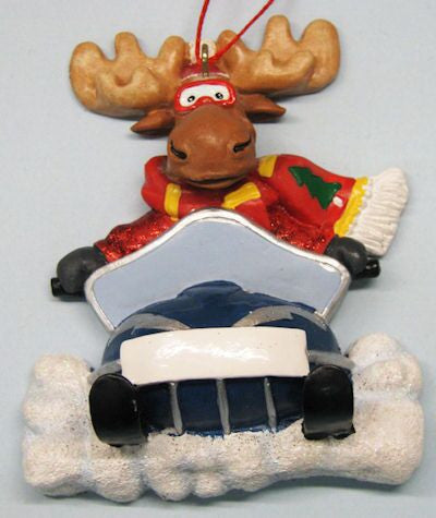 Moose on Snowmobile Christmas Onament