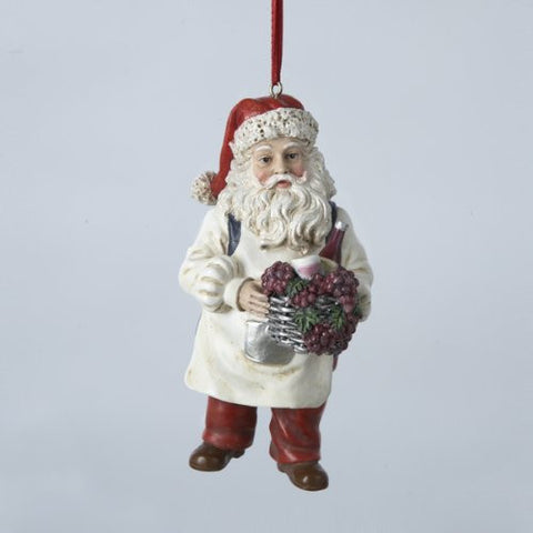 Santa Holding Wine Basket Christmas Ornament