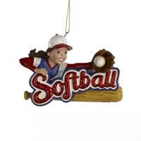 Girl Softball Christmas Ornament