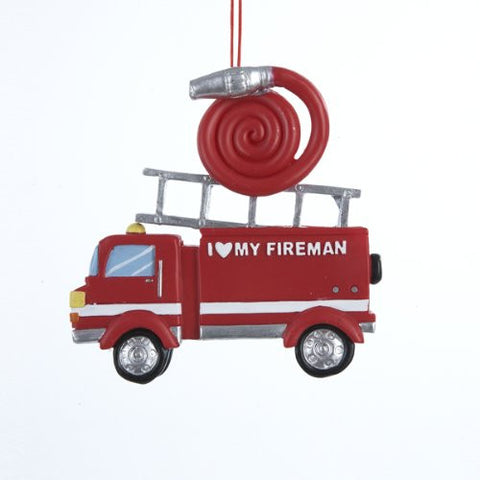 """I Love my Fireman"" Truck Christmas Ornament"