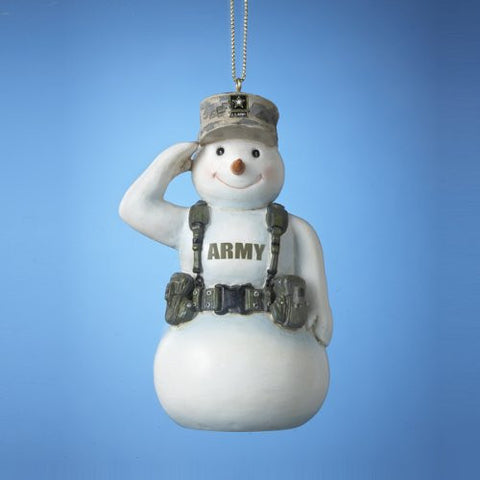 Army Snowman Christmas Ornament