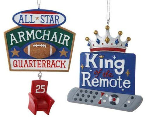 King of the Remote Christmas Ornament (Set of 2)