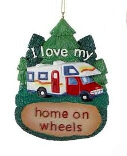 """I Love My Home on Wheels"" RV Christmas Ornament"