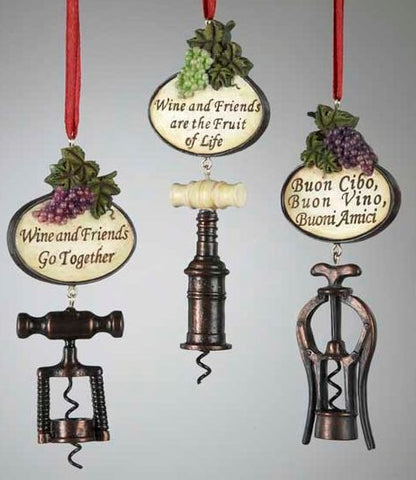 Wine Bottle Openers Christmas Ornaments (Set of 3)