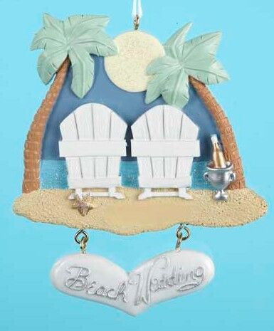 Beach Wedding Christmas Ornament