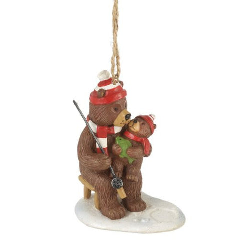 Bear Ice Fishing Christmas Ornament