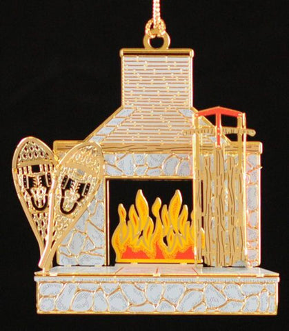 Lodge Fireplace Christmas Ornament