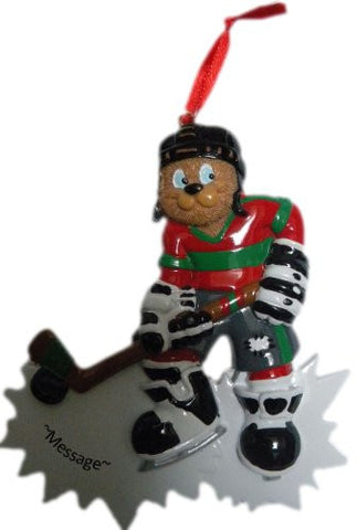 bear hockey player christmas ornament