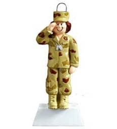 Female Army Soldier Christmas Ornament