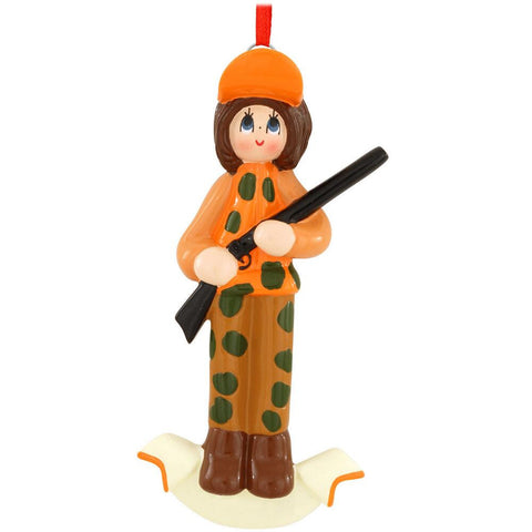 Female Hunter Christmas Ornament
