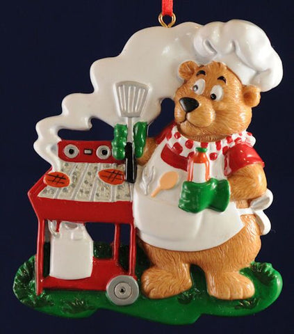 Bear with BBQ Christmas Ornament