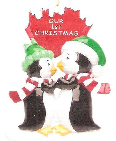"""Our First Christmas"" Penguins Christmas Ornament"