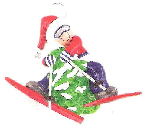 Skiier on Tree Christmas Ornament