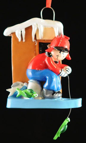 Ice Fishing Christmas Ornament