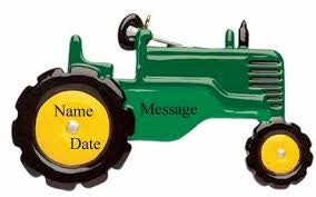 Green Tractor Christmas Ornament