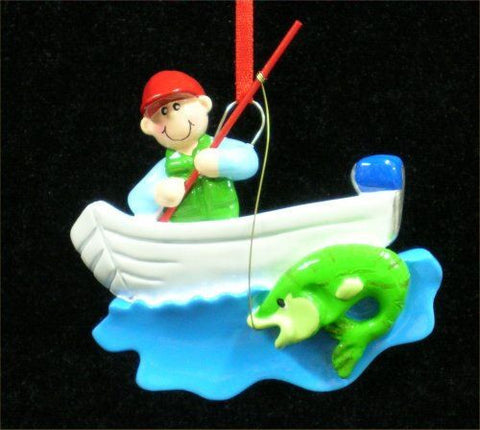 Fisherman in Boat Christmas Ornament