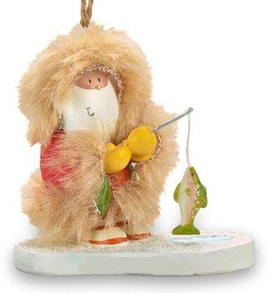 Inuit Fishing Santa Christmas Ornament