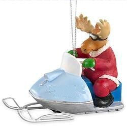 Moose on Snowmobile Christmas Ornament