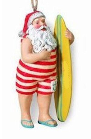 Santa with Surfboard Christmas Ornament