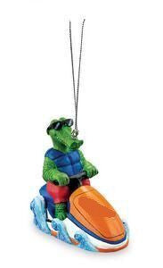 Gator on Jet Ski Christmas Ornament