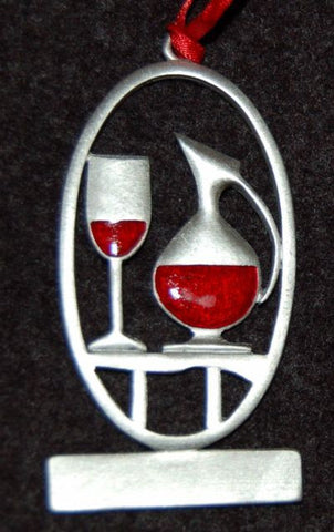 Wine Glass and Decanter Christmas Ornament