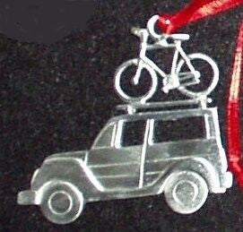 SUV with Bicycle Christmas Ornament
