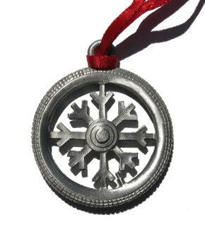 Snowflake Bicycle Tire Christmas Ornament