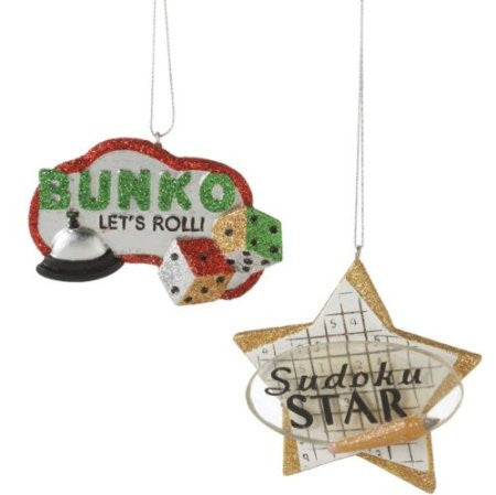Sudoku and Bunco Set of 2 Christmas Ornament