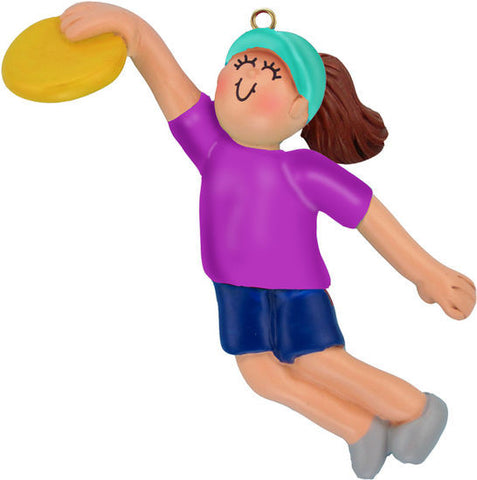 Female Playing Frisbee Christmas Ornament