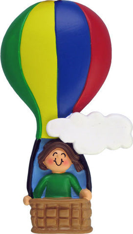 Brunette Female in a Hot Air Balloon Christmas Ornament