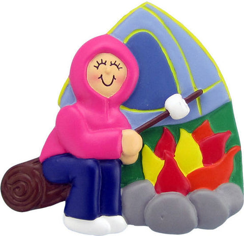 Camping Female Christmas Ornament