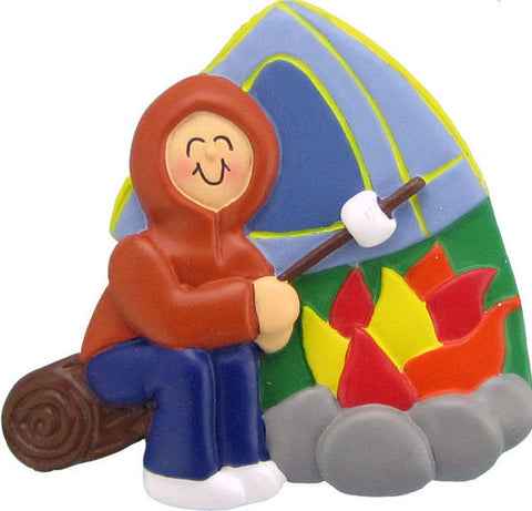 Male Camping Christmas Ornament
